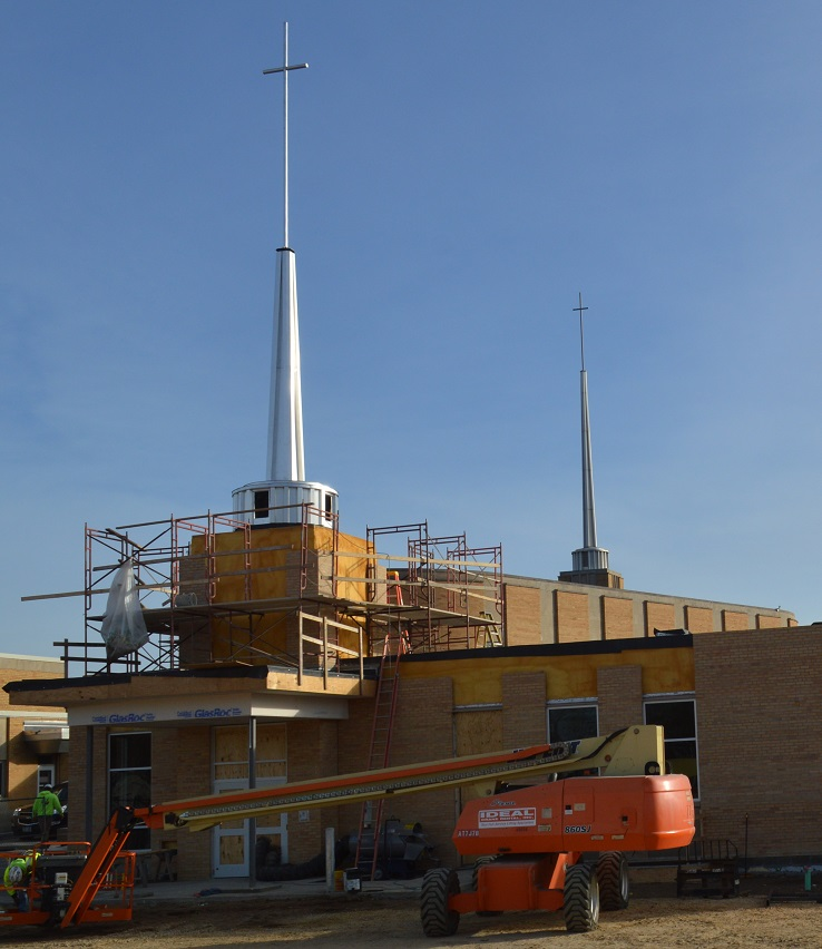 Mary, Mother of the Church Parish Spire & Cross Installation